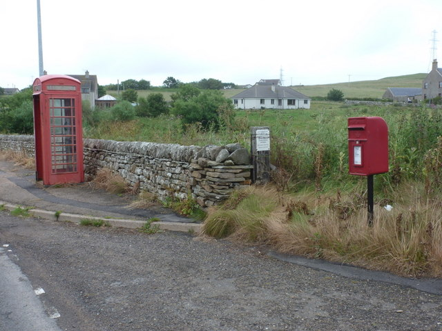 Reay: postbox № KW14 60 and phone box
