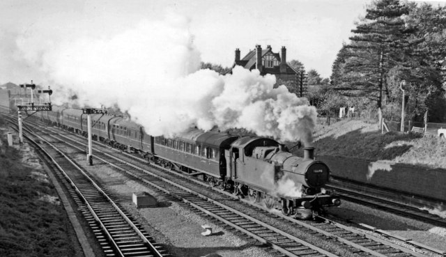 GW 0-6-2T on a Paddington - Cheltenham  express at Churchdown