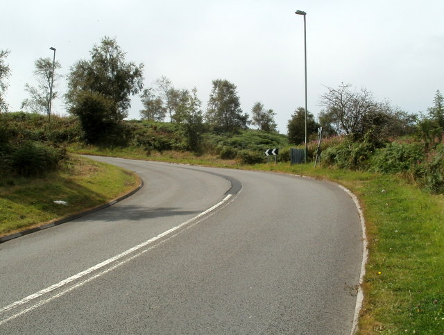 Sharp bend near the top of Mountain Road, Caerphilly