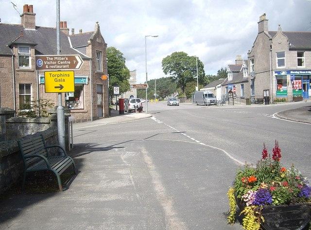 Torphins village crossroads in August