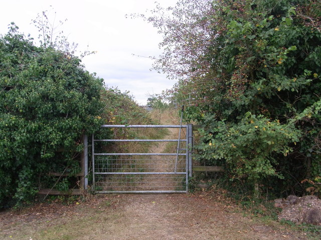 Bridleway gate on path over old railway line