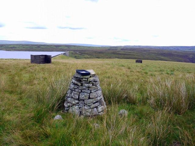 Stone pillar above Cow Green Dam