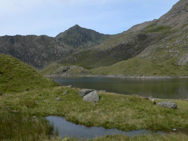 Looking across Llyn Llydaw towards Snowdon