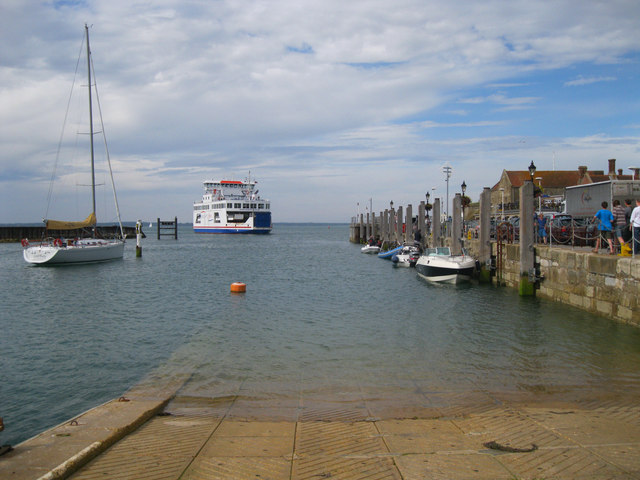 Wightlink ferry approaching Yarmouth terminal