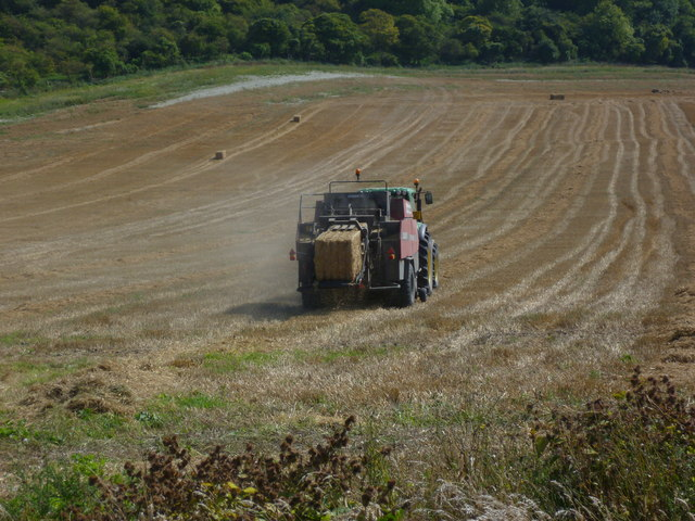 Tractor at work in stubble field at Fulking (2)