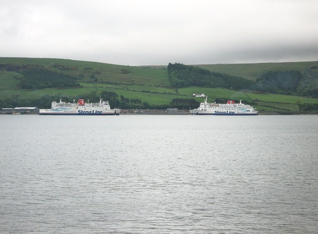 Ferries passing on Loch Ryan