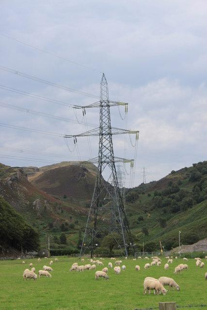 Pylons near Llandecwyn station