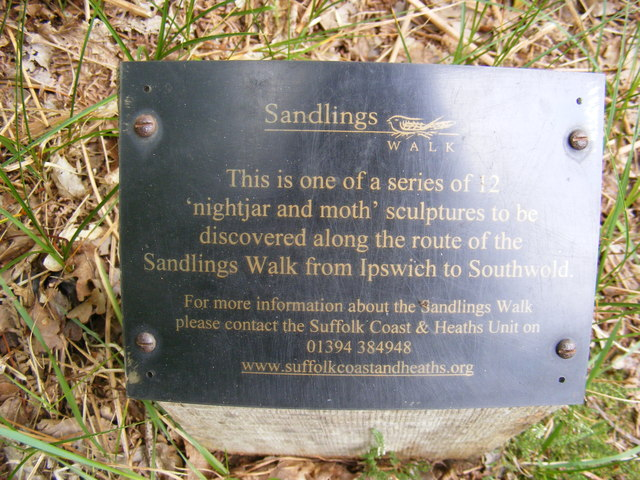 Plaque on the Sculpture on the footpath to Sandlings Walk over Blaxhall Heath