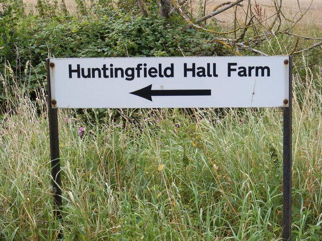 Huntingfield Hall Farm sign