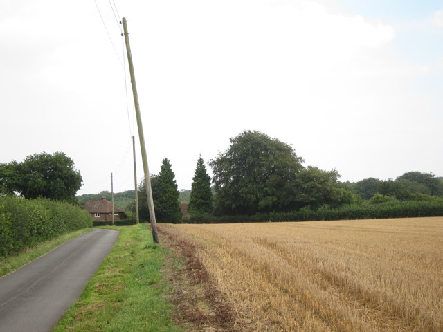 Harvested wheat field by Stalisfield Road