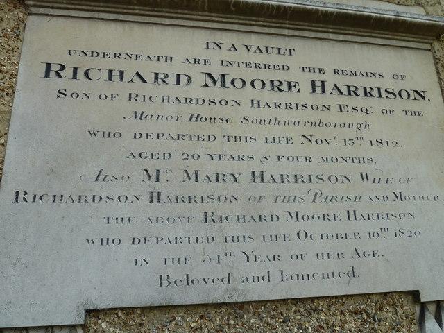 St Andrew, South Warnborough: external memorial (b)