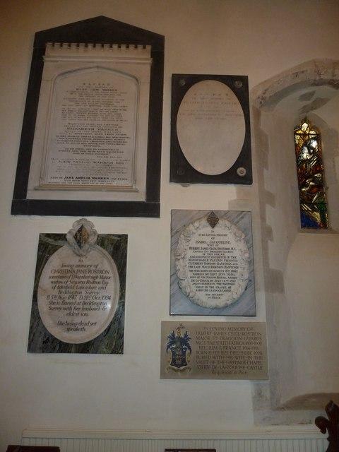 St Andrew, South Warnborough: internal memorials