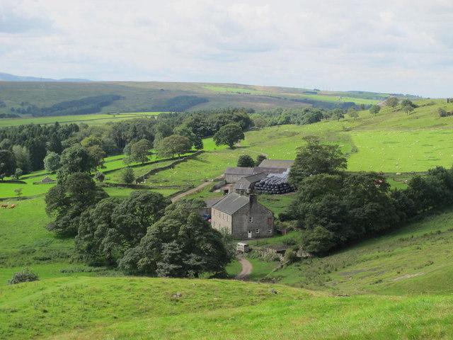 Farmland and woodland around Walltown Farm