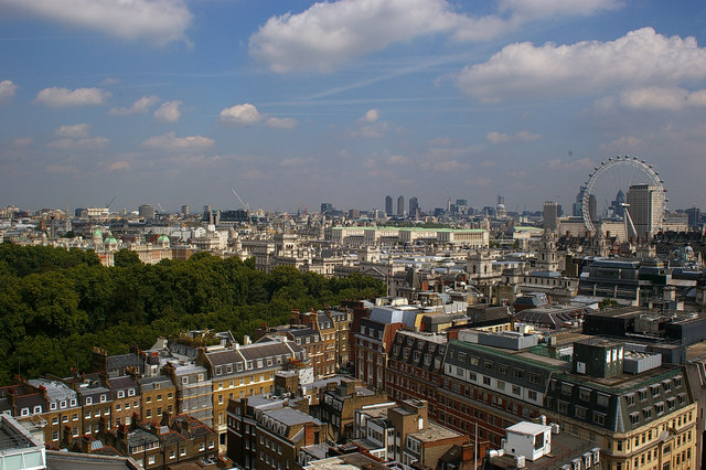 View of the London Eye and environs