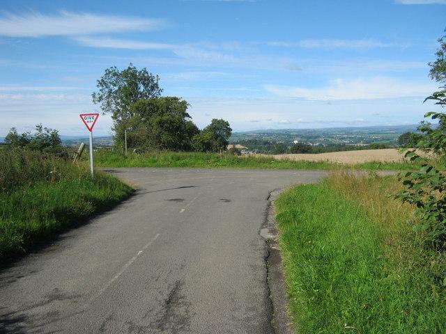 Junction of minor roads near Middlestone Moor
