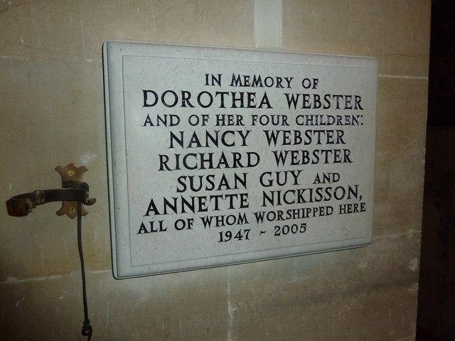 St Andrew, South Warnborough: Webster family memorial