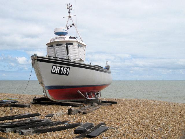 Fishing boat on Walmer beach