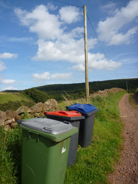 Rural East Lothian : Red Green and Blue at Pressmennan Wood Road-end