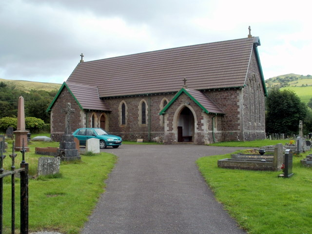 Front view of St John the Baptist church, Callwen, Glyntawe