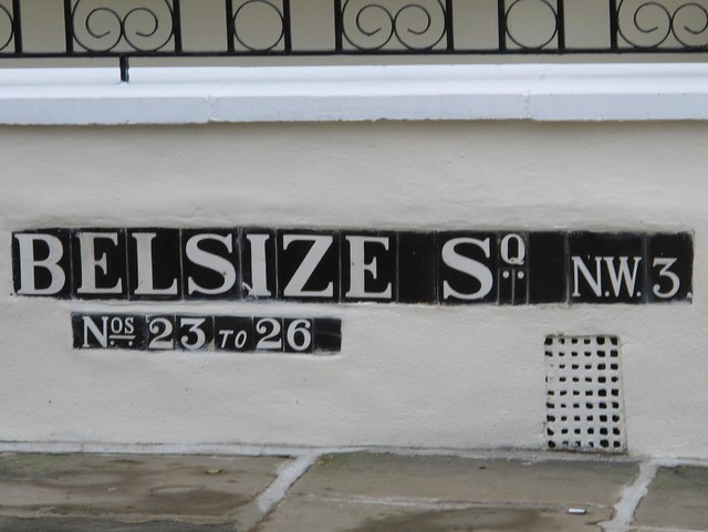 Sign for (part of) Belsize Square, NW3