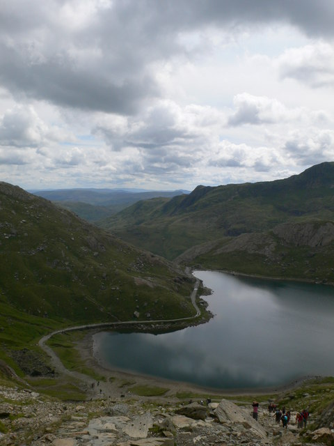 Looking down on the northern end of Llyn Glaslyn
