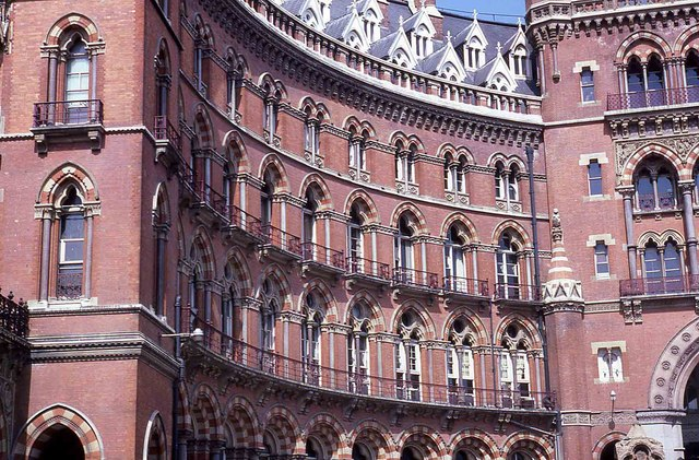 Arches and balconies on St Pancras Renaissance Hotel