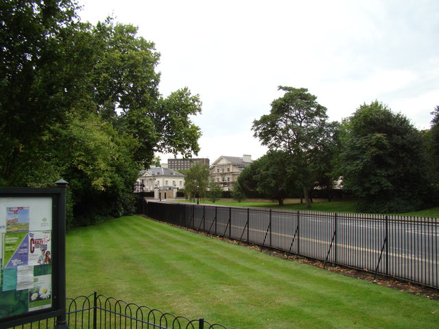 Buildings on The Outer Circle, viewed from the end of the path