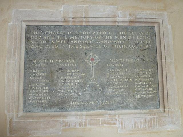 All Saints, Long Sutton: war memorial