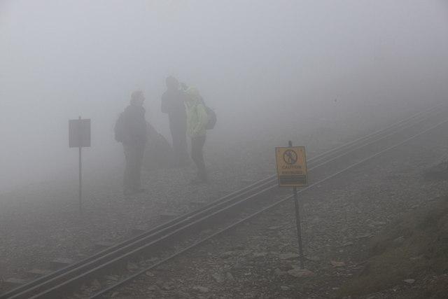 Snowdon Ranger path reaches the Snowdon mountain railway track