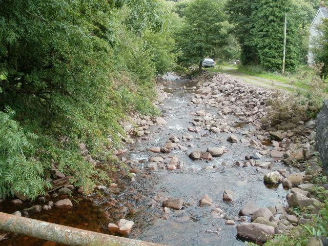 Nant Haffes flows away from Pont Haffes, Glyntawe