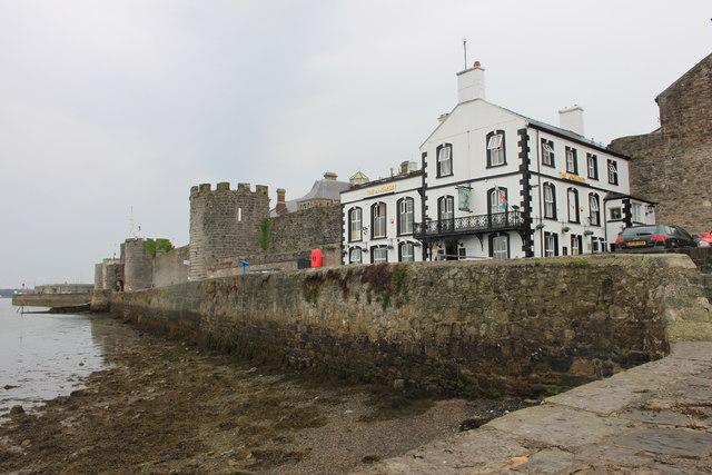 The Anglesey Inn and Caernarfon town walls