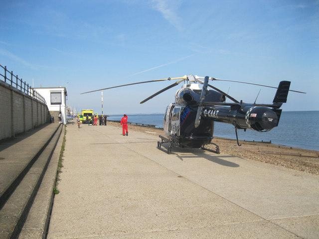 Air ambulance at Herne Bay