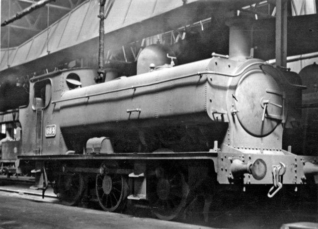 Ex-Cardiff Railway 0-6-0T inside Cardiff East Dock Shed