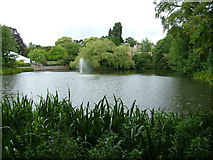 SP8633 : Bletchley Park, lake and mansion by John Goldsmith