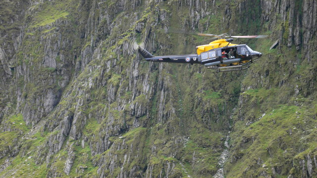 Training helicopter in Snowdonia