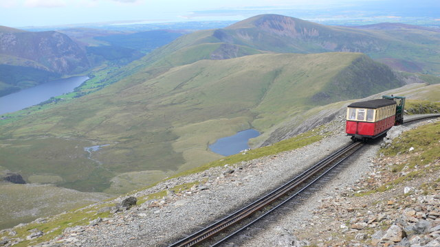 View north from Bwlch Glas, with the Snowdon train