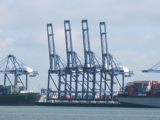 Container cranes at Felixstowe Docks