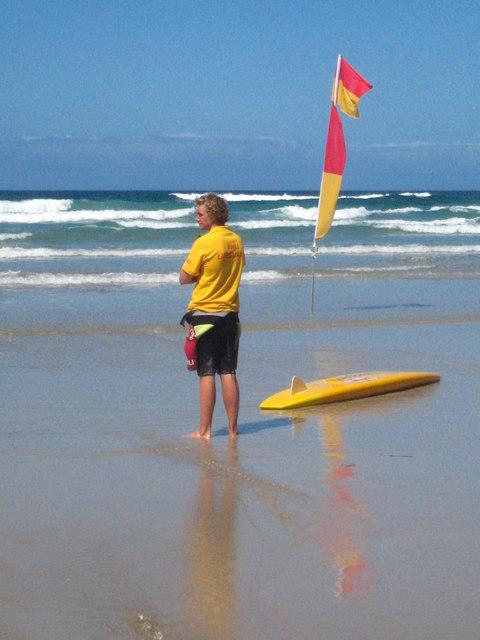 Lifeguard patrol on Gwynver Beach