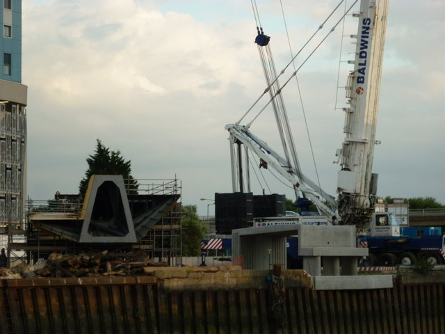 The new footbridge waiting to be lifted into place