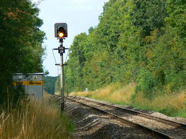 Lineside signal, railway to Gloucester, near Minety