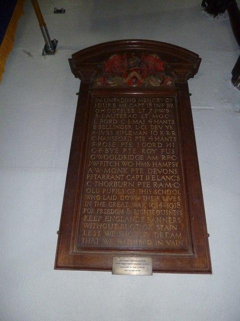 Odiham, All Saints: war memorial