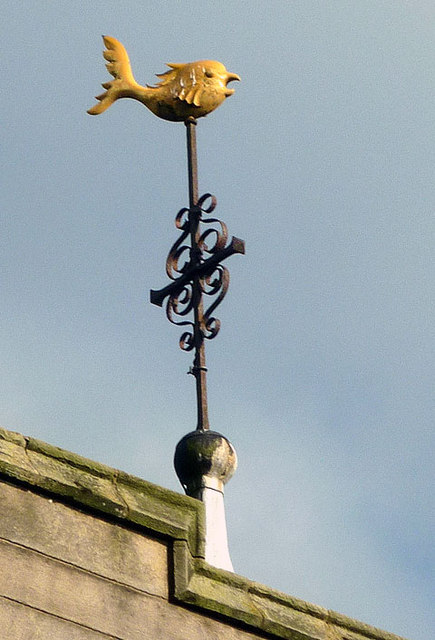 The 'dolphin' weather vane, St Mark's Church at Dolphinholme