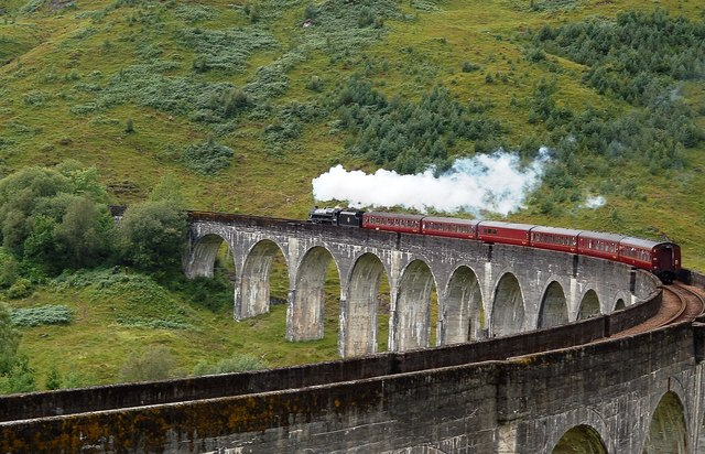 """""""The Jacobite"""" Crossing Glenfinnan Viaduct"""
