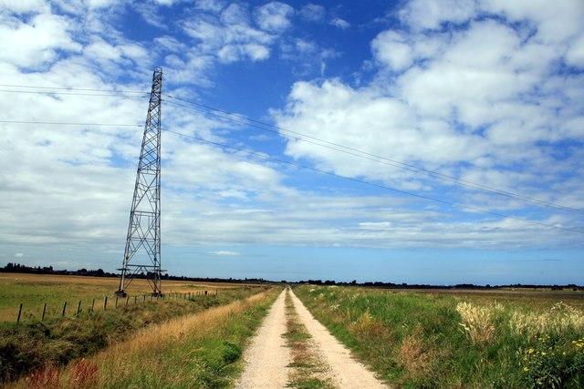 Pylon and path next to the River Clwyd (Afon Clwyd)