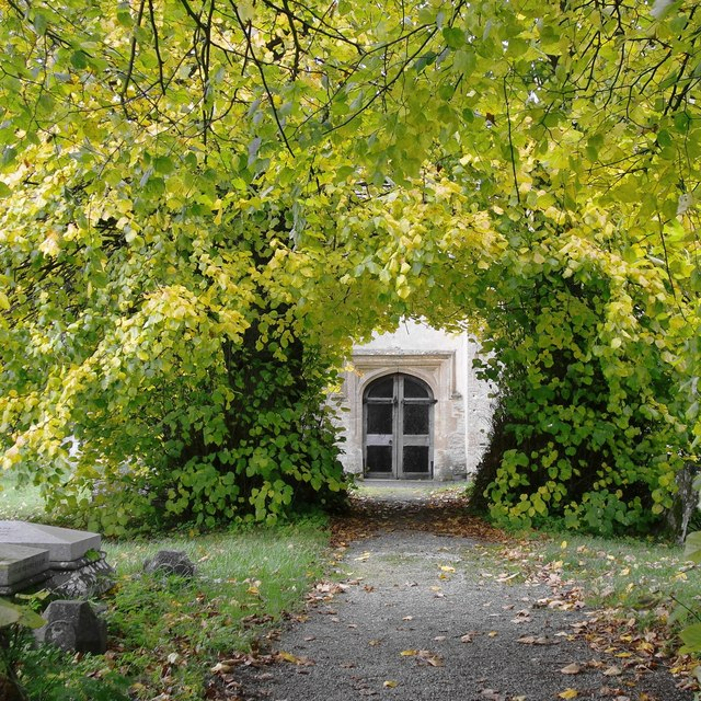 The path to the church door, Kelmscott - in late October