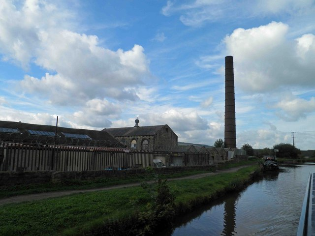 Industrial chimney alongside the Leeds Liverpool canal Skipton