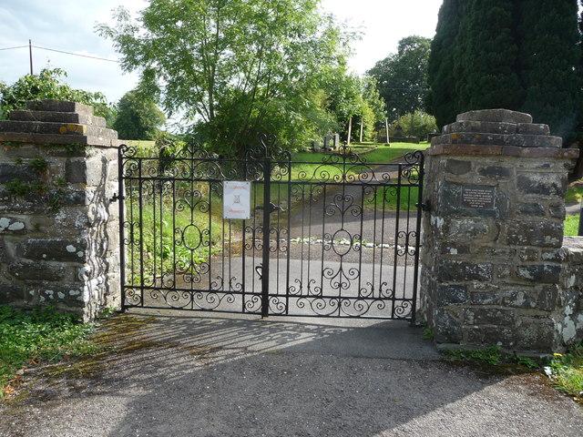The gates to Eglwys St. Non, Llanerchaeron