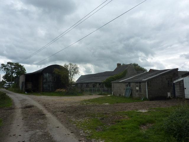 Farm buildings, silage bales, Rowfield Farm