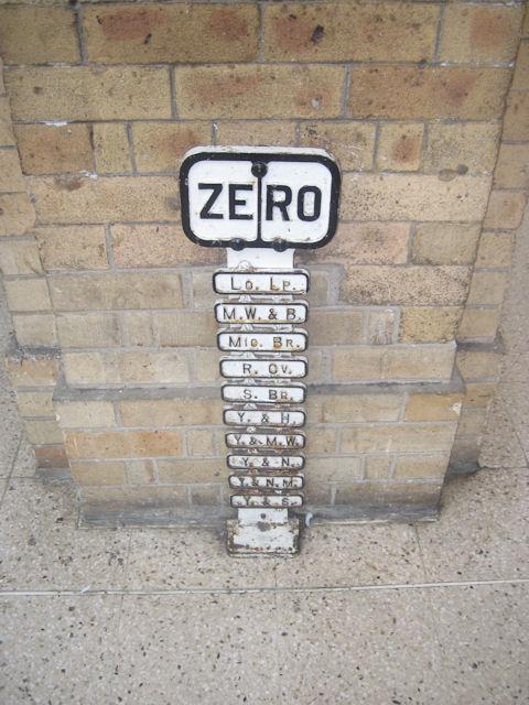 Zero milepost on York station platform 4