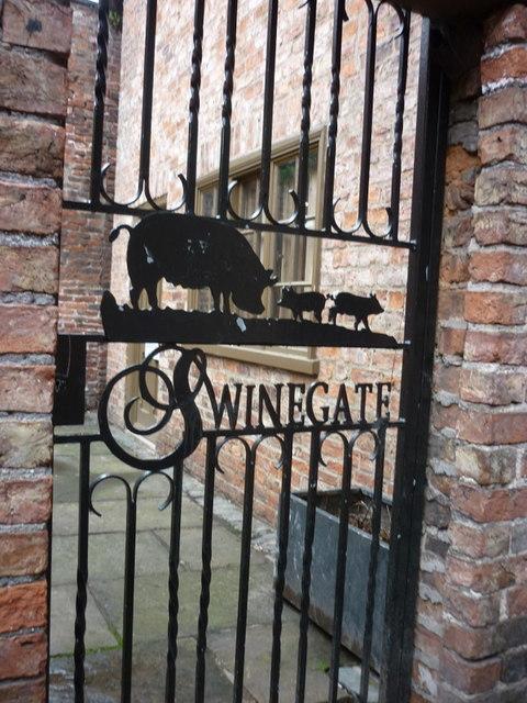 A gate down Swinegate, York